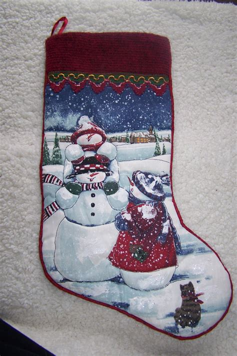 woodland country snowman family christmas stocking snow scene