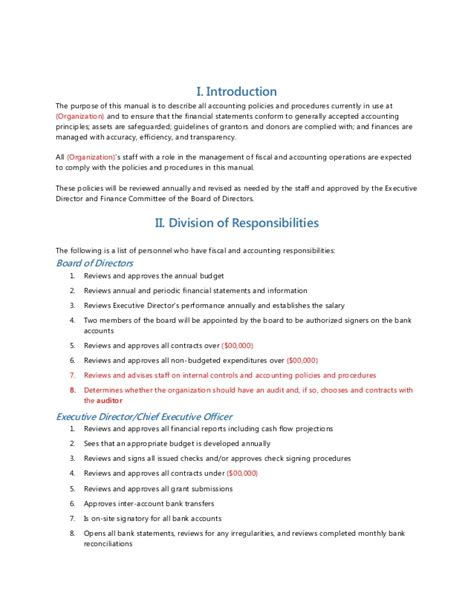Petty Policy Template by Accounting Policies And Procedures Sle