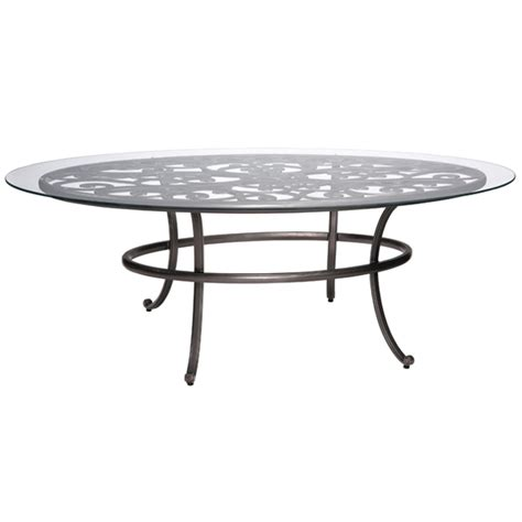 woodard new orleans oval umbrella table with glass top