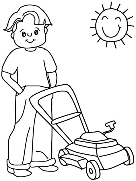 printable lawnmower summer coloring pages