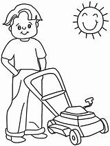 Coloring Pages Summer Lawnmower sketch template