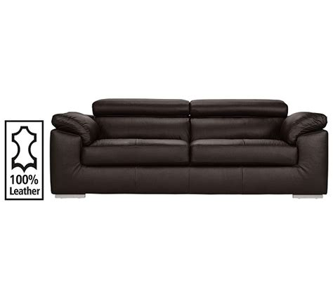 Argos 2 Seater Leather Sofa by Buy Hygena Valencia 3 Seater Leather Sofa Chocolate At