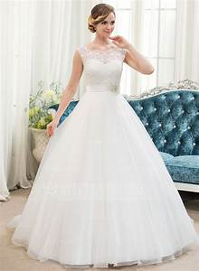 ball gown scoop neck sweep train organza lace wedding With sweep train wedding dress