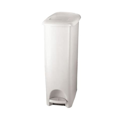 Trash Can 9 Inches Wide by Rubbermaid 11 25 Gal White Slim Fit Step On Trash Can