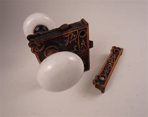 antique white porcelain door knobs  brass lock set ebay
