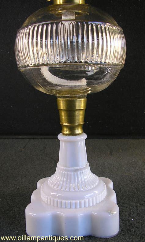 lamp oil eapg glass 1860s milk base lamps circa ribbed oillampantiques
