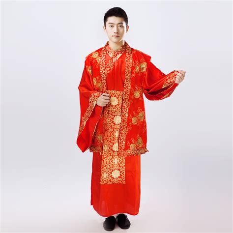 Chinese folk dance Hanfu costume male wedding dress the groom married red costume in clothing ...