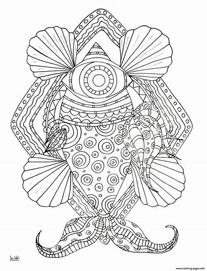 Coloring Tribal Pages Fish Pattern Adults Printable