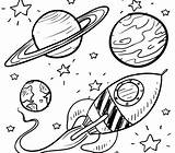 Galaxy Coloring Planets Rocket sketch template