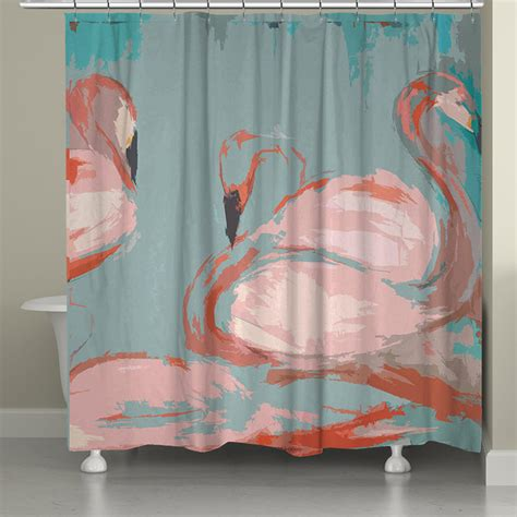 flamingo shower curtain flamingos shower curtain from laural home