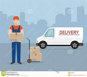 Man With Cardboard Box And Delivery Van On City Background