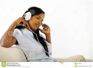 Calm Young Woman Listening To Music Stock Photography ...