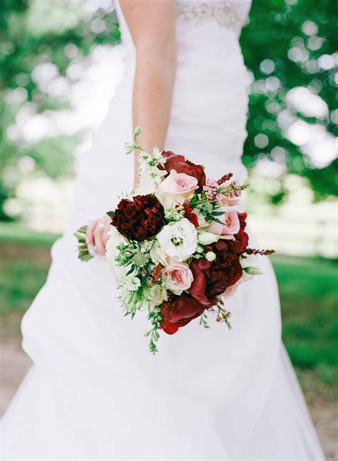 Bridal Bouquet With Burgundy Peonies Pink Garden Roses