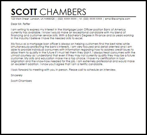 mortgage loan officer cover letter sle livecareer