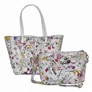 Imoshion Floral Saffiano Texture GIADA 2 Pc Reversible 4 In 1 Vegan Tote Bag EBay