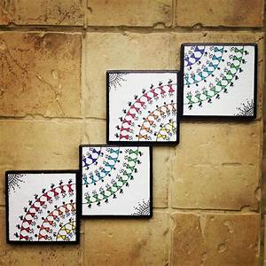 Colourful Handmade Handpainted Warli Wall Art Set Of 4