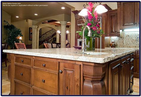 large granite kitchen table top with faucet and sink