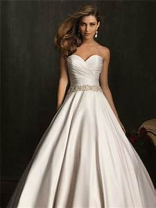 simple exquisite ball gown strapless ruched beaded satin With strapless satin wedding dress