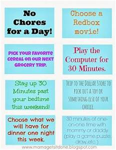 Chore Chart and Reward Coupons rewards for activity of