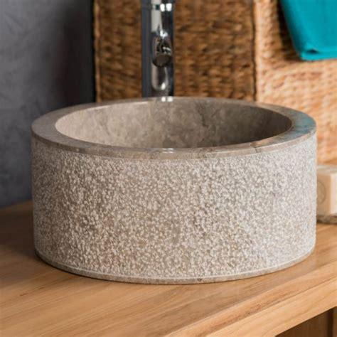 vasque 224 poser en marbre elbe grise taupe d 35cm
