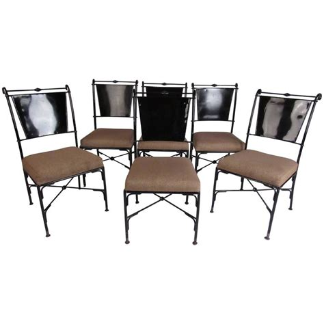 set of six contemporary metal dining chairs for sale at
