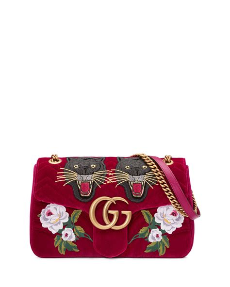 gucci  anniversary gg marmont small panther velvet shoulder bag neiman marcus