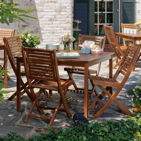 oxford garden 4 person wood patio dining set brown