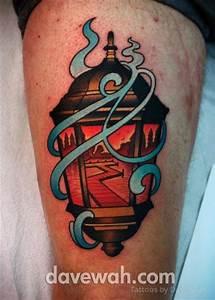 Tatuaje New School Lámpara Muslo por Dave Wah