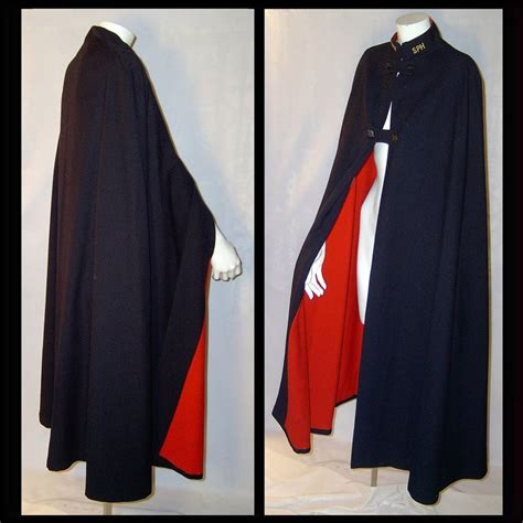 vintage black wool cashmere nurse cape cloak  red