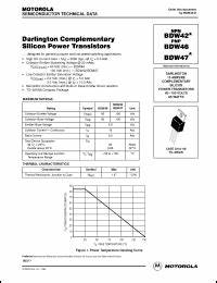 on semiconductor bdw42 series datasheets bdw47 bdw46 With datasheets
