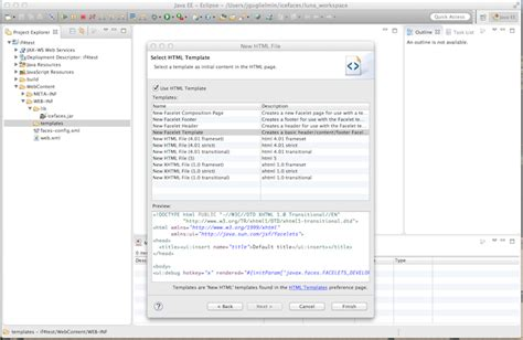 eclipse modify templates creating new eclipse project without plugin icefaces