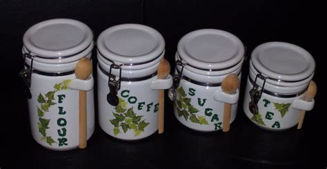 where to buy kitchen canisters 4 stenciled ceramic canister white green kitchen decor