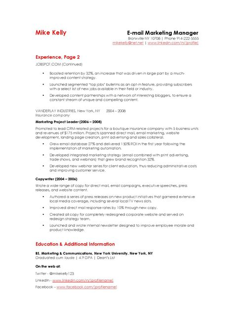 how to write an email marketing resume sle that hrs choose