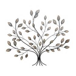 wall art hanging rustic bronze enamel leaves leaf antiqued metal tree new large