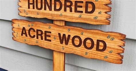 Hundred Acre Wood, Classic Winnie The Pooh Sign, Wooden