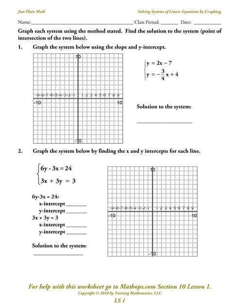 printables graphing linear equations worksheets