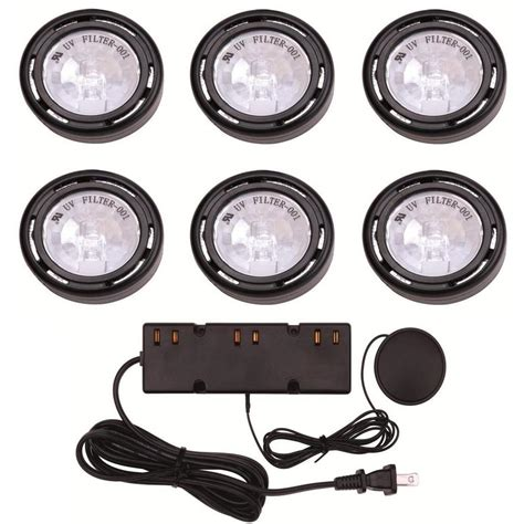 hton bay 6 light xenon black cabinet puck light