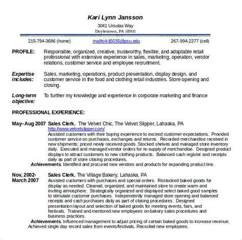 sample food service resume  documents   word