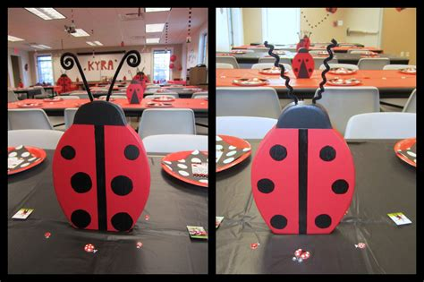 Ladybug Centerpieces Made From Scrap Wood Used Pipe