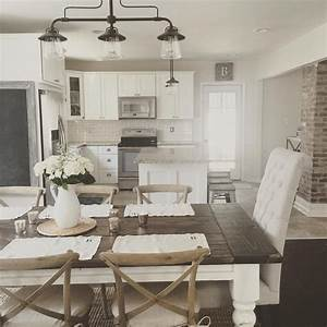 rustic modern farmhouse with farmhouse table with a wood With best brand of paint for kitchen cabinets with rustic dining room wall art