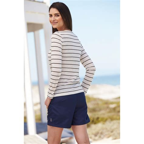 Tab Sleeved Linen Top knitted linen striped sleeved or sleeved top