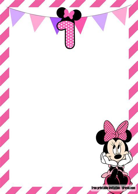 minnie mouse st birthday invitation templates bagvania