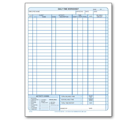 Daily Time & Work Record Pad  Item #39000