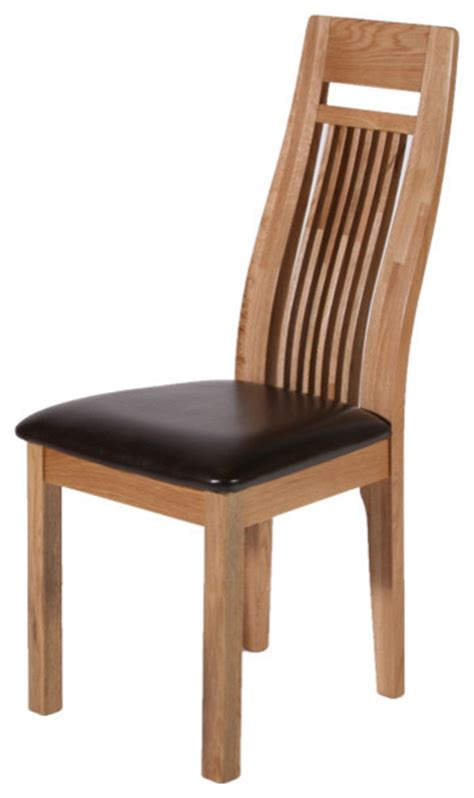 hereford solid oak chair with lumbar support brown seat