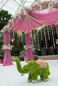 floral elephant decor at wedding entrance My Obsession
