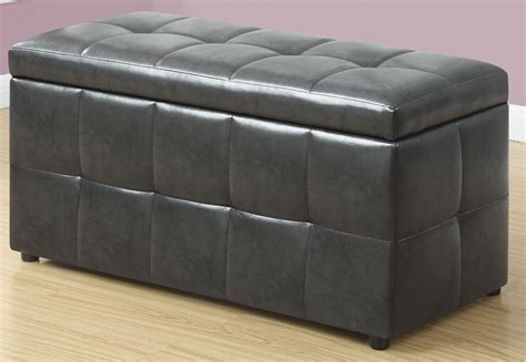 Gray Storage Ottoman by Charcoal Gray Leather Storage Ottoman From Monarch