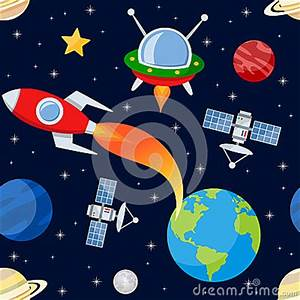 Outer Space Seamless Pattern Stock Vector - Image: 52376911