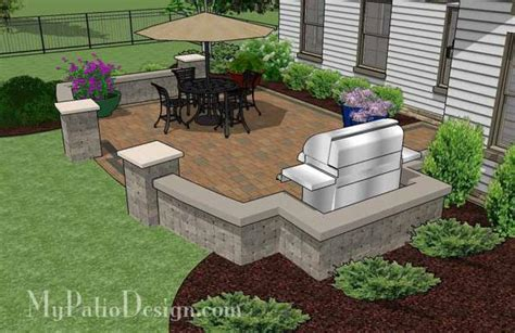 backyard patio design with seat wall 415 sq ft