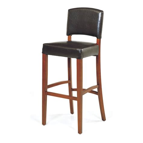 Raw Wood Bar Stools by Armen Living Sonora Stationary Brown Leather Bar Stool
