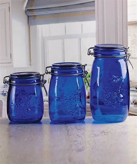 blue kitchen canister set blue embossed fruit vintage kitchen canister set of